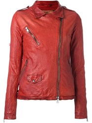 Giorgio Brato Distressed Effect Biker Jacket Red