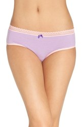 Betsey Johnson Women's Stretch Cotton Hipster Briefs Mini Stripe Charming Pink
