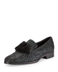 Jimmy Choo Foxley Coarse Glitter Leather Tassel Loafer Black Green