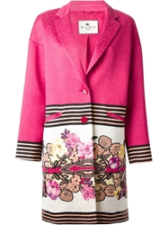 Etro Floral And Stripe Print Coat Pink And Purple