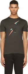Paul Smith Black Skull And Rainbow Lightning Bolt T Shirt
