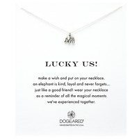 Dogeared Lucky Elephant Pendant Necklace Silver