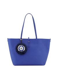 Etienne Aigner Turner Leather Tote Bag With Fur Key Chain Cobalt