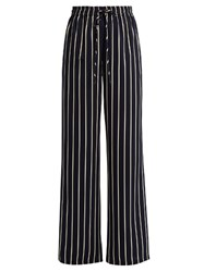 Raey Striped Wide Leg Satin Trousers Navy