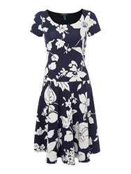Lauren Ralph Lauren Cap Sleeve Dress With Scoop Neck Navy And White