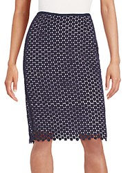 Karl Lagerfeld Circle Lace Pencil Skirt Marine