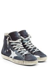 Golden Goose High Top Sneakers With Leather Blue