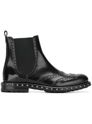 Dolce And Gabbana Studded Brogue Chelsea Boots Black