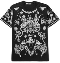Givenchy Columbian Fit Printed Cotton Jersey T Shirt Black