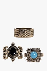 Boohoo Large Stone And Chevron Band Ring Pack Gold