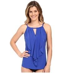 Miraclesuit Suit Yourself Ruffle Peephole Tankini Top Electric Blue Women's Swimwear