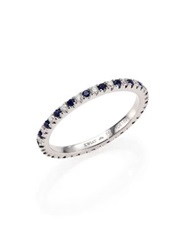 Kwiat Diamond Sapphire And 18K White Gold Eternity Stacking Ring White Diamond
