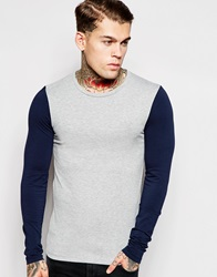 Asos Extreme Muscle Fit Long Sleeve T Shirt With Contrast Sleeves And Stretch Greymarlnavy