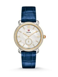 Michele Gracile Diamond 18K Goldplated Stainless Steel And Alligator Strap Watch