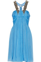 Matthew Williamson Embellished Silk Chiffon Dress Blue