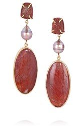 Melissa Joy Manning 14 Karat Gold Petrified Wood Pearl And Druzy Earrings Red