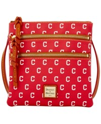 Dooney And Bourke Cleveland Indians Mlb Triple Zip Crossbody Bag Red