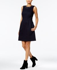Tommy Hilfiger Embellished Fit And Flare Dress Only At Macy's Rinse
