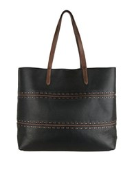 Cole Haan Pinch Leather Tote Black Chestnut