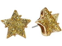 Betsey Johnson Gold Star Glitter Stud Earrings Gold Earring