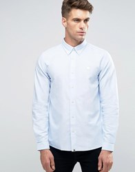 Pretty Green Oxford Shirt With Logo In Regular Fit Blue Blue