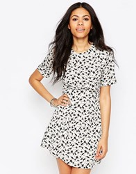Daisy Street Skater Dress In Star Print White