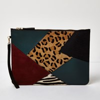 River Island Womens Green Patchwork Leather Pouchette Bag