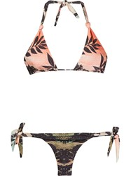 Brigitte Printed Triangle Bikini Set Yellow And Orange