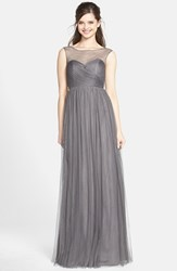 Women's Jenny Yoo 'Aria' Illusion Yoke Pleated Tulle Gown Shadow Grey