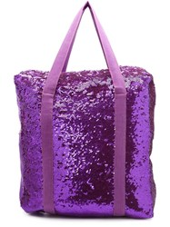 Ashish Sequin Denim Bag Pink Purple