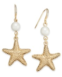 Charter Club Gold Tone Imitation Pearl Starfish Earrings Only At Macy's