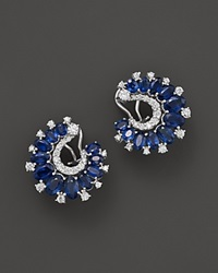 Bloomingdale's Sapphire And Diamond Earrings In 14K White Gold Blue