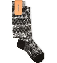 Missoni Zigzag Over The Knee Cotton Socks 006 Black