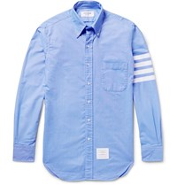 Thom Browne Slim Fit Striped Cotton Oxford Shirt Blue