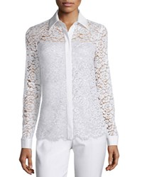 Michael Kors Long Sleeve Floral Lace Blouse White