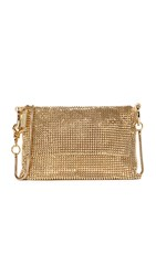 Whiting And Davis Pyramid Mesh Cross Body Bag Gold