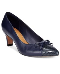 Clarks Collection Women's Crewso Calica Kitten Heel Pumps Women's Shoes Navy Croco