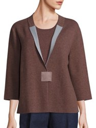 Lafayette 148 New York Cozy Wool Flannel Two Tone Cardigan Porcini Storm