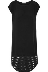 Kain Label Suki Perforated Paneled Crepe Mini Dress Black
