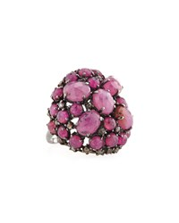 Bavna Pink Sapphire And Champagne Diamond Dome Ring Women's