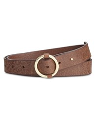 Inc International Concepts Pull Through Centerbar Leather Belt Only At Macy's Cognac