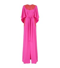 Oscar De La Renta Embroidered Cape Silk Kaftan Female Pink