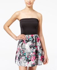 Teeze Me Juniors' Printed Strapless Fit And Flare Dress Red Grey Floral