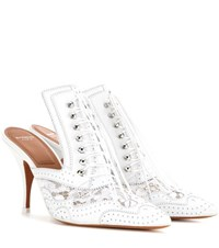 Givenchy Leather And Lace Kitten Heel Pumps White