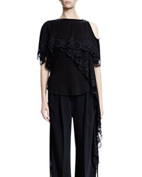 Givenchy Cold Shoulder Scoop Back Lace Top Black Men's Size 38