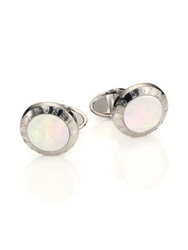 Dunhill Mother Of Pearl Inset Cuff Links Silver