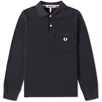 Fred Perry X Nigel Cabourn Long Sleeve Training Polo Black