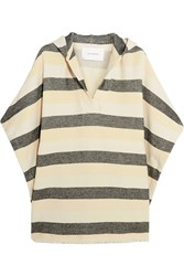 Solid And Striped The Beach Cape Striped Basketweave Cotton Blend Poncho Cream