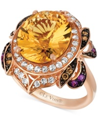 Le Vian Multi Stone 6 3 4 Ct. T.W. And Chocolate Diamond 1 8 Ct. T.W. Oval And Round Cut Ring In 14K Rose Gold