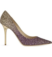 Jimmy Choo Abel 100 Glitter Heeled Courts Boho Pink Gold